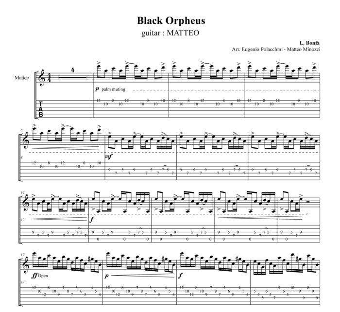 Black Orpheus (Manha de Carnaval) - Score scrap - Bruskers Guitar Duo