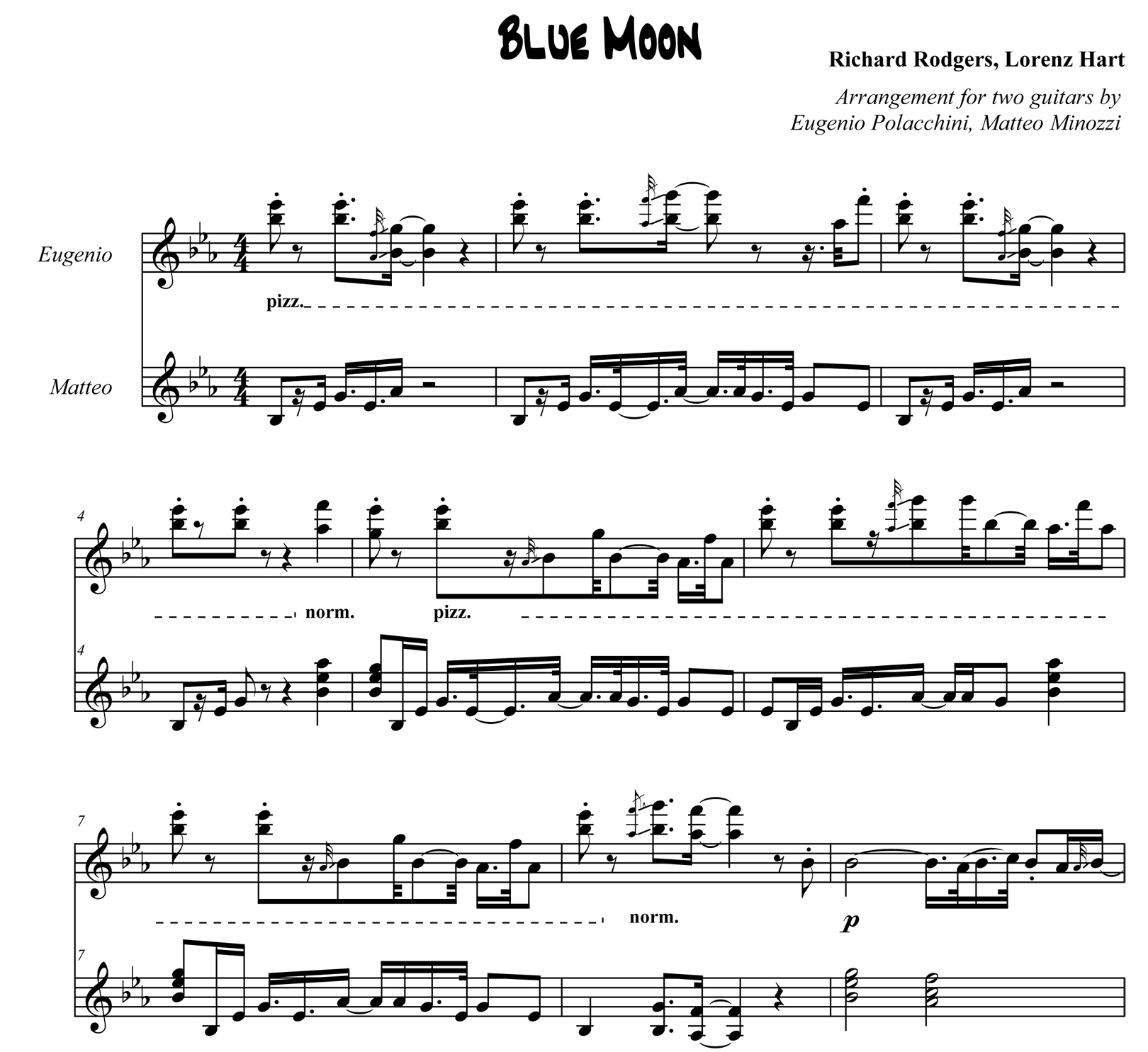 Blue Moon - Score scrap - Bruskers Guitar Duo