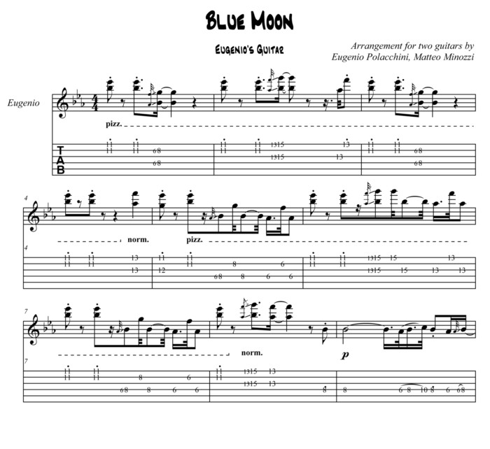 Blue Moon - Score Cover - Bruskers Guitar Duo