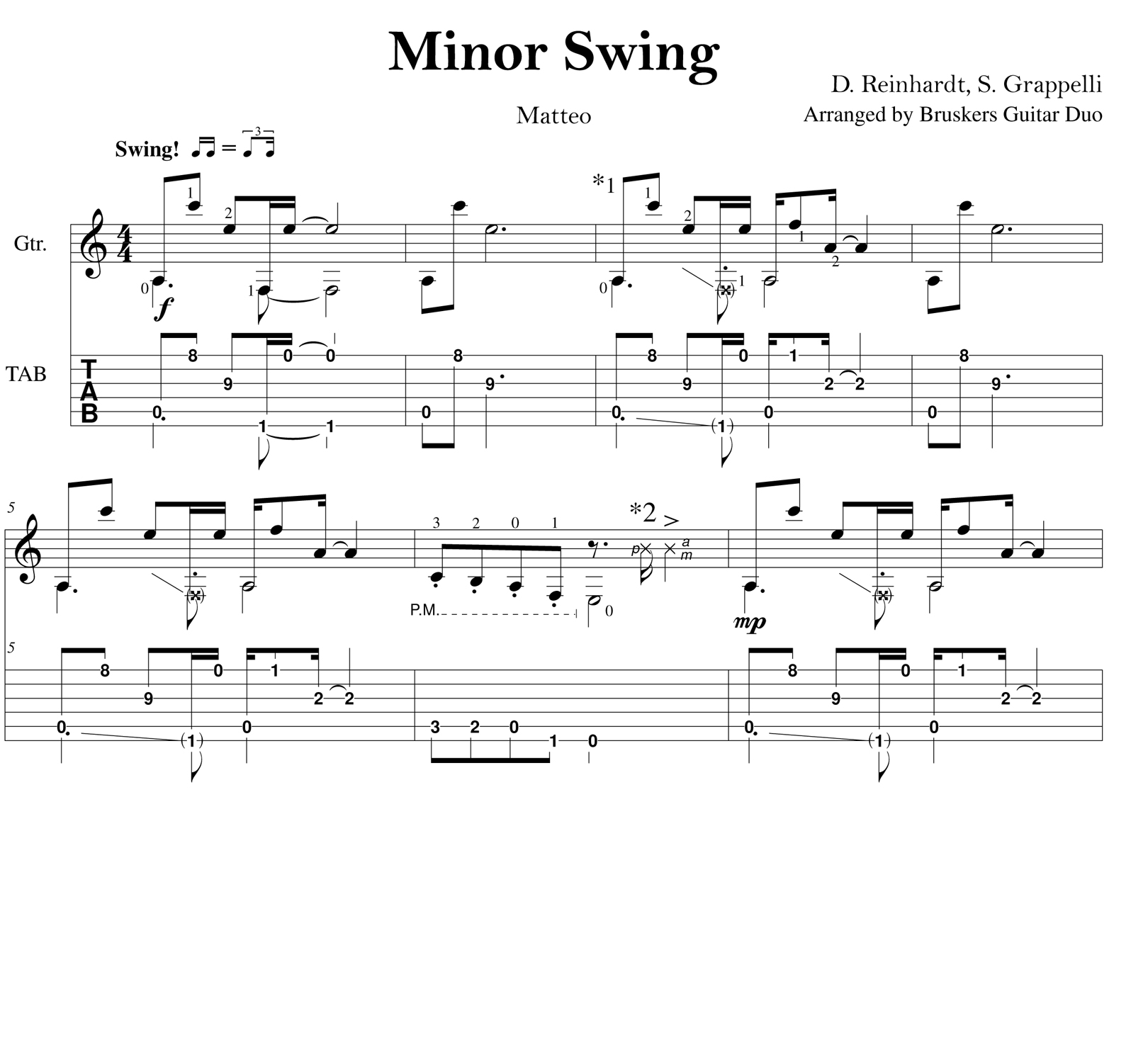 Minor Swing - Score scrap - Bruskers Guitar Duo