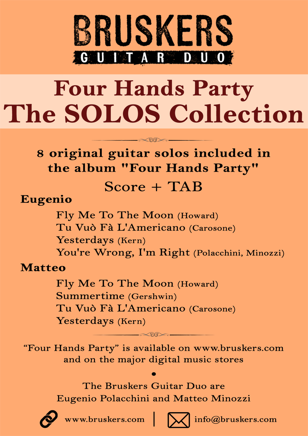 The Solos Collection of Four Hands Party - Score Cover - Bruskers Guitar Duo