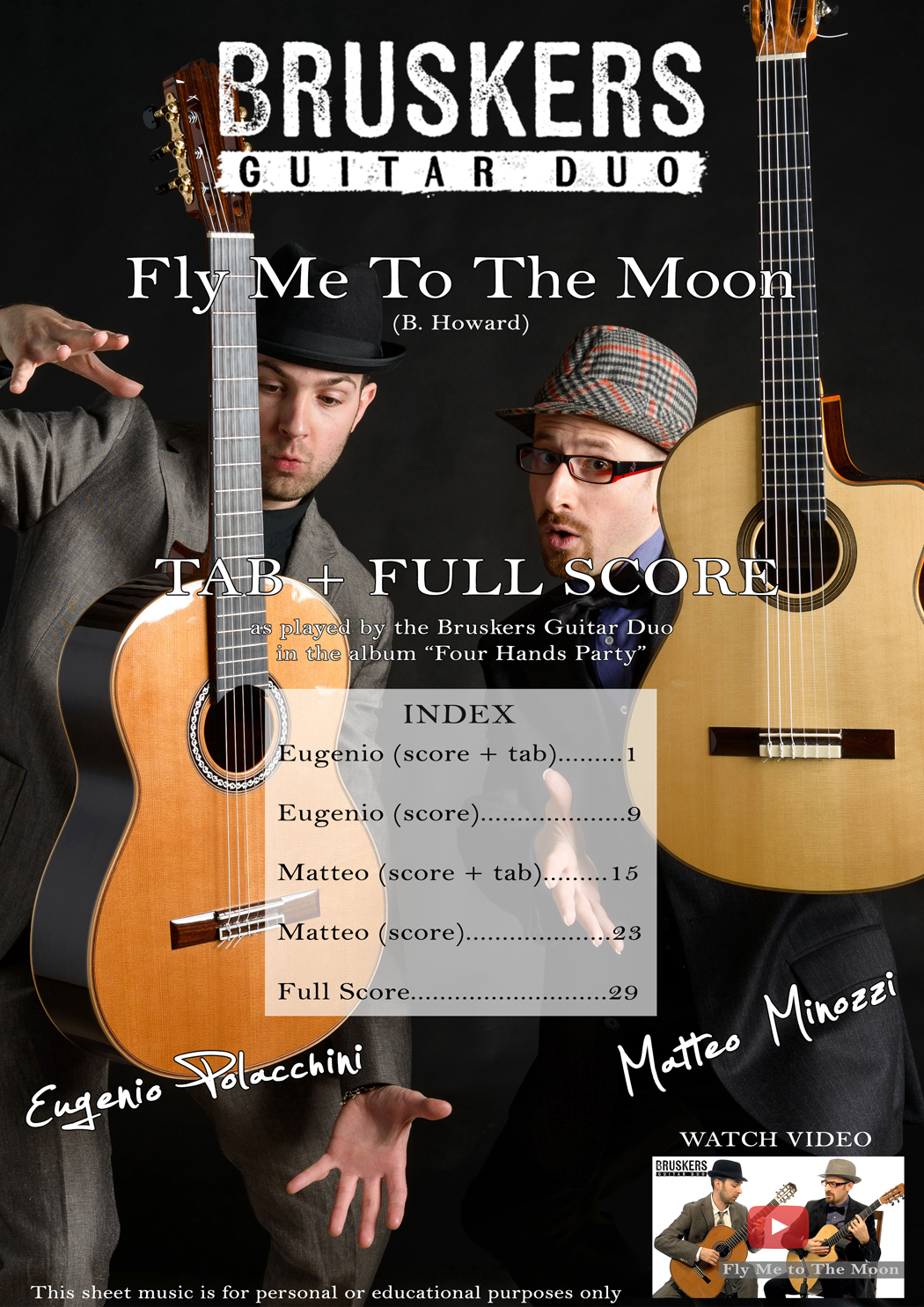 Fly Me To The Moon - Score Cover - Bruskers Guitar Duo