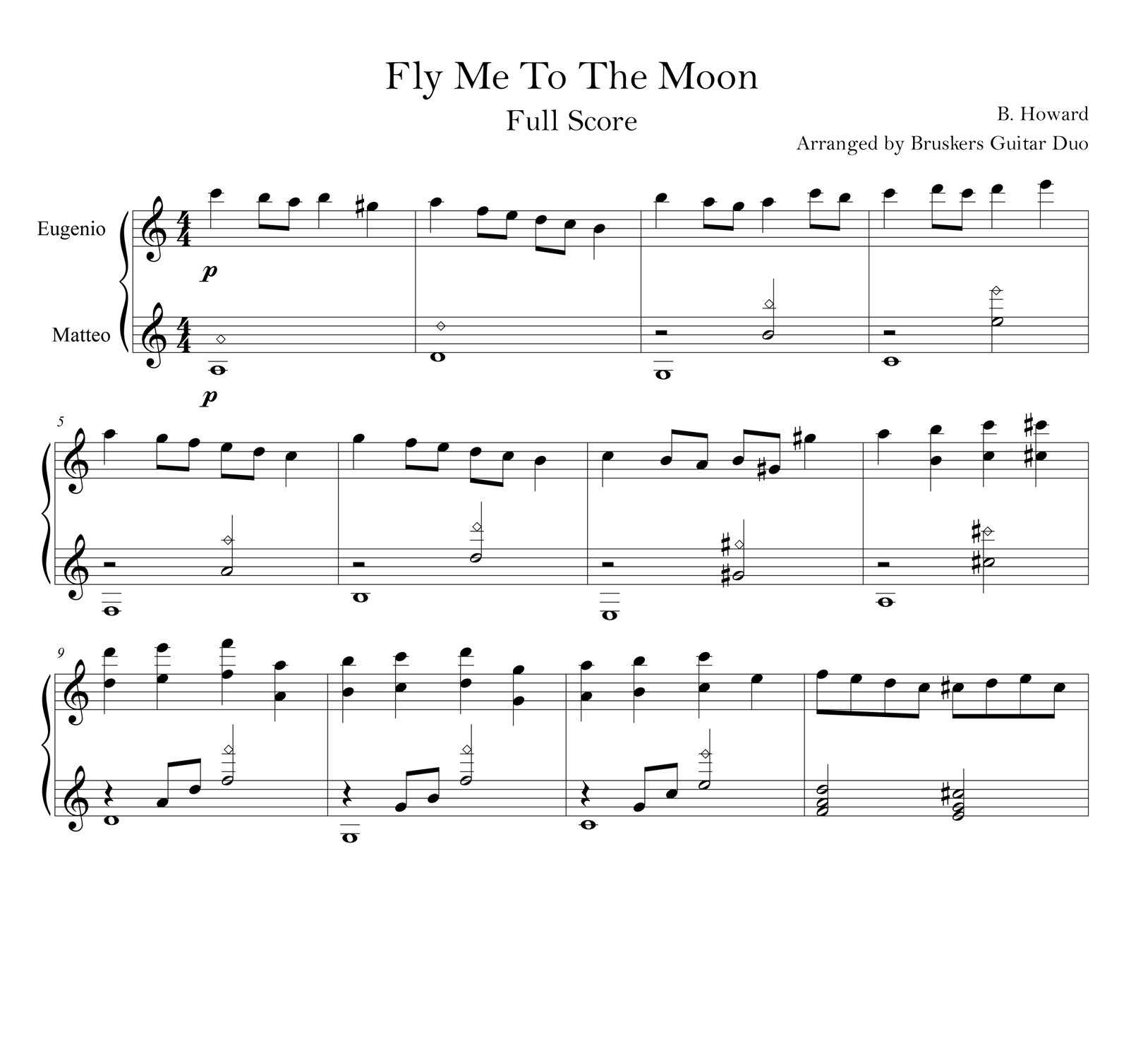 Fly Me To The Moon - Score scrap - Bruskers Guitar Duo