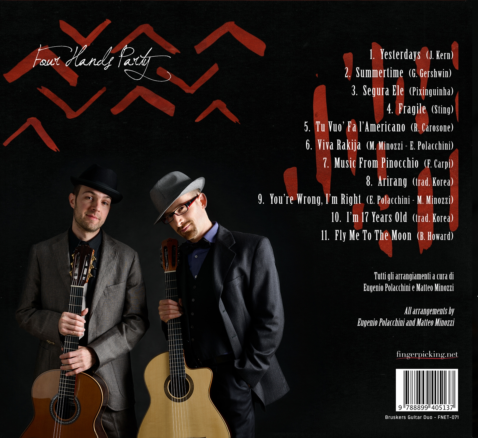 Four Hands Party - CD back side - Bruskers Guitar Duo